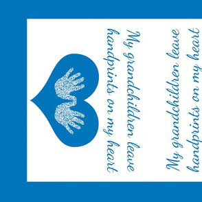 Blue handprints Grandmother Tea Towel