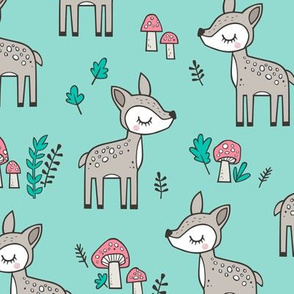 Sweet  Woodland Deer and Mushrooms Forest on Mint Green