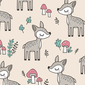 Sweet  Woodland Deer and Mushrooms Forest