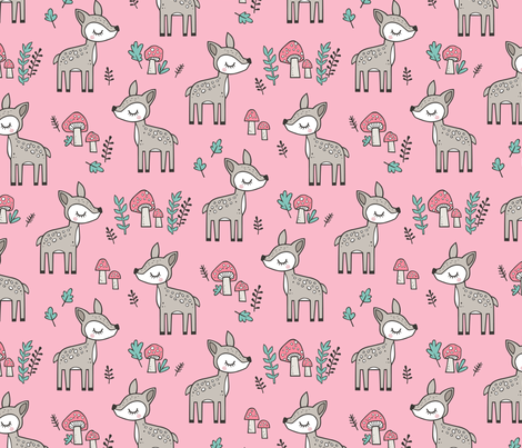 Sweet  Woodland Deer and Mushrooms Forest on Pink fabric by caja_design on Spoonflower - custom fabric