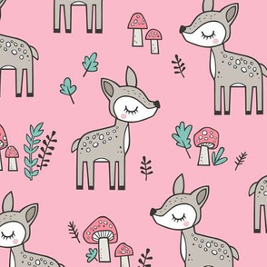 Sweet  Woodland Deer and Mushrooms Forest on Pink