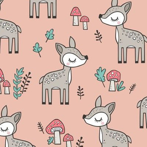 Sweet  Woodland Deer and Mushrooms Forest on Peach