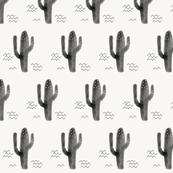 Cactus watercolor cacti - monochrome, black and white, gender neutral, modern, baby, kids, nursery || by sunny afternoon