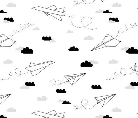 Paper plane (b&w) fabric by les_motifs_de_sarah on Spoonflower - custom fabric