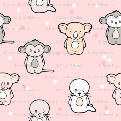 Happy Cute Monkey Koala and Seal