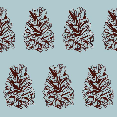 pine cone on blue-grey fabric by littlegreenthread on Spoonflower - custom fabric