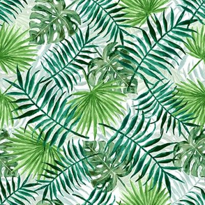 monstera and palm leaves - double