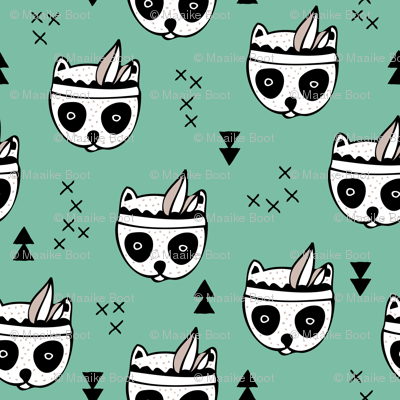 Cool geometric Scandinavian winter style indian summer animals little baby panda green XS