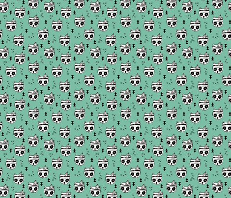 Cool geometric Scandinavian winter style indian summer animals little baby panda green XS fabric by littlesmilemakers on Spoonflower - custom fabric