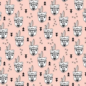 Cool geometric Scandinavian winter style indian summer animals little baby grizzly bear peach pink XS