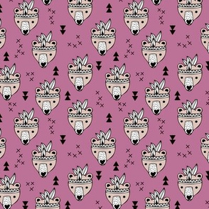Cool geometric Scandinavian winter fall style indian summer animals little baby grizzly bear lilac purple XS