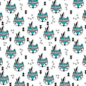 Cool geometric Scandinavian winter style indian summer animals little baby fox blue white XS