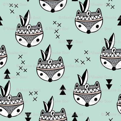 Cool geometric Scandinavian winter style indian summer animals little baby fox mint XS