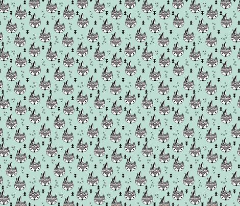 Cool geometric Scandinavian winter style indian summer animals little baby fox mint XS fabric by littlesmilemakers on Spoonflower - custom fabric