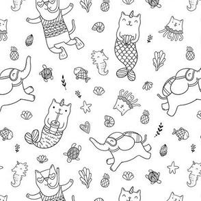 cat mermaids pattern