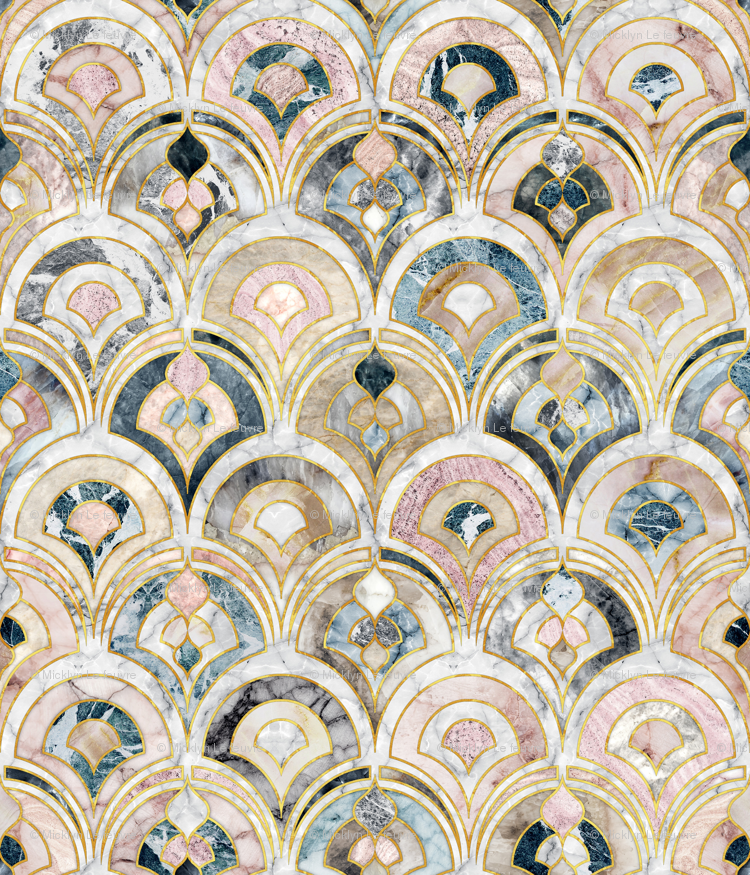 Marble Art Deco Tiles In Soft Pastels Wallpaper Micklyn Spoonflower