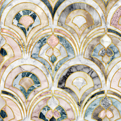 Marble Art Deco Tiles in Soft Pastels fabric by micklyn on Spoonflower - custom fabric