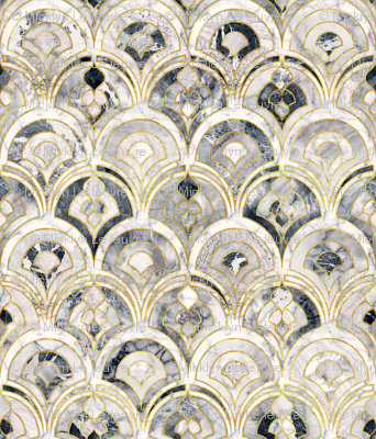 Marble Art Deco Tiles In Charcoal Grey Wallpaper Micklyn