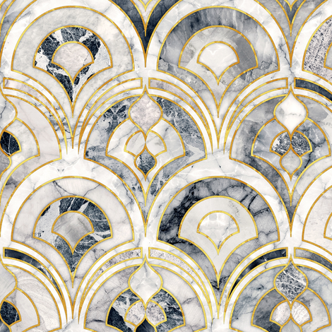 Marble Art Deco Tiles in Charcoal Grey fabric by micklyn on Spoonflower - custom fabric
