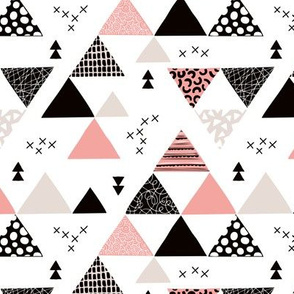 Geometric pastel black and white triangle  abstract memphis style crosses and shapes peach pink blush