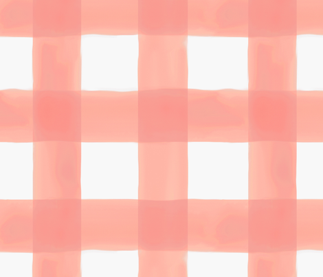 "Watercolor Gingham // Peach 3.5"" fabric by willowlanetextiles on Spoonflower - custom fabric"