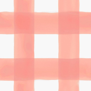 Watercolor Gingham // Peach 3.5""