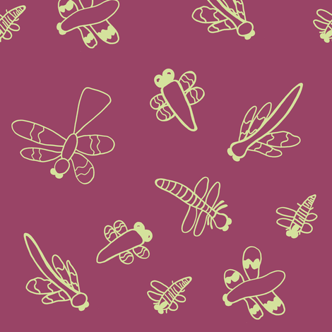 Dragonflies (Ruby) fabric by forestprojectkids on Spoonflower - custom fabric