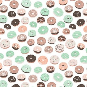 Colorful donuts sweet NY bakery goods candy design pastel peach mint