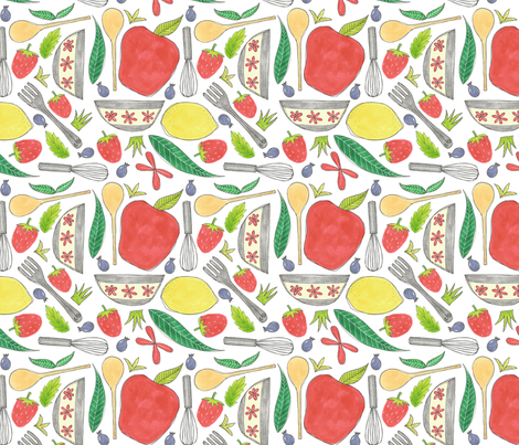 Kitchen Stuff Pattern Fabric Swoldham Spoonflower
