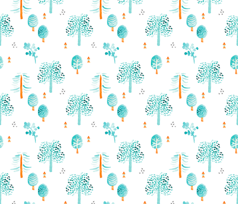 Retro summer fall and autumn garden forest Scandinavian woodland design watercolor painting blue  fabric by littlesmilemakers on Spoonflower - custom fabric