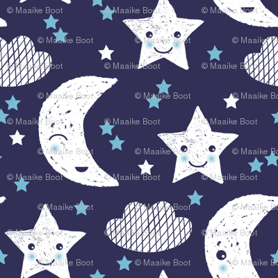 Soft stars good night clouds sweet dreams moon phase kawaii sparkle blue gender neutral