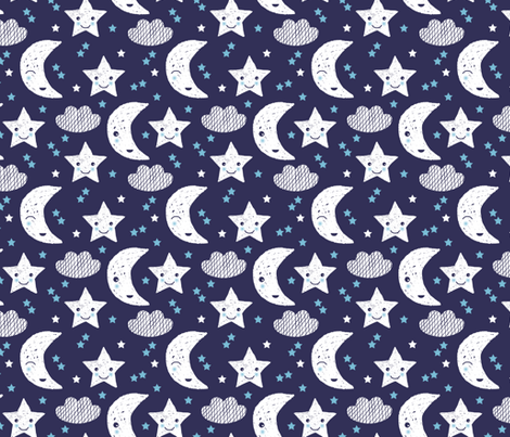 Soft stars good night clouds sweet dreams moon phase kawaii sparkle blue gender neutral fabric by littlesmilemakers on Spoonflower - custom fabric