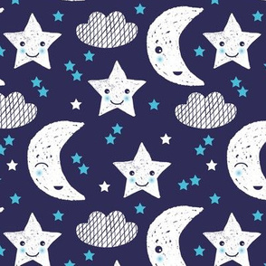 Soft stars good night clouds sweet dreams moon kawaii sparkle blue gender neutral