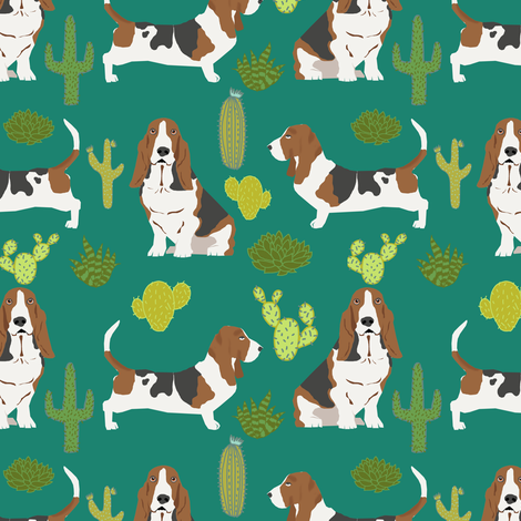 basset hound cactus summer desert trendy succulent pet dog pet dogs cacti cactuses fabric fabric by petfriendly on Spoonflower - custom fabric