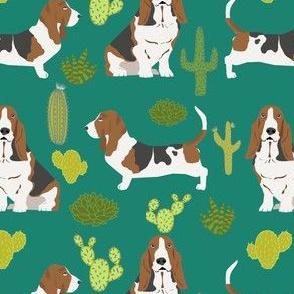 basset hound cactus summer desert trendy succulent pet dog pet dogs cacti cactuses fabric