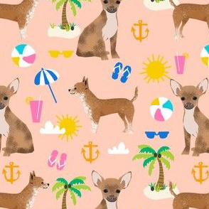 chihuahuha beach peach cute girly tropical palm tree dogs tropical beach ball tropics cute dog pet chihuahua fabric