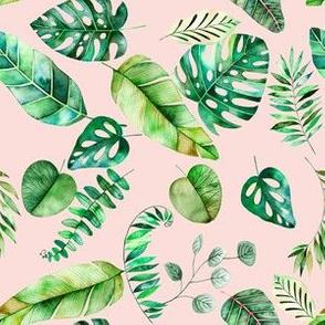 Amazon Leaves // Lt Peachy Pink ((Small Print))