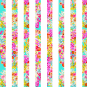 Summer Bright Floral on Turquoise Chunky Stripes