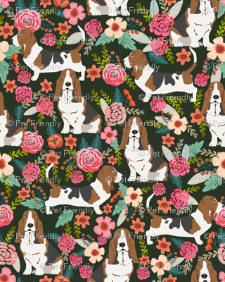basset hound florals painted flowers vintage style floral dog pet basset hounds fabric