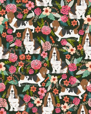 basset hound florals painted flowers vintage style floral dog pet basset hounds fabric