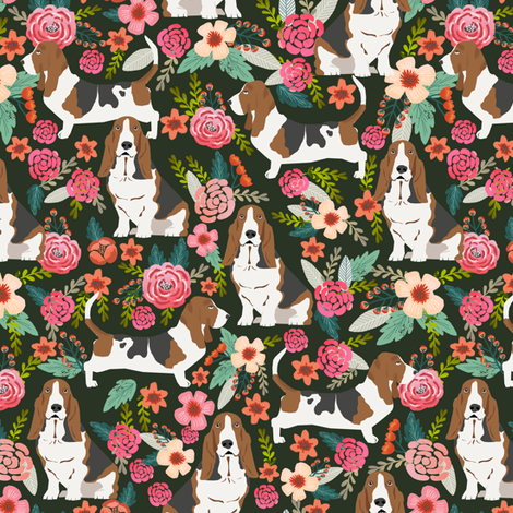 basset hound florals painted flowers vintage style floral dog pet basset hounds fabric fabric by petfriendly on Spoonflower - custom fabric