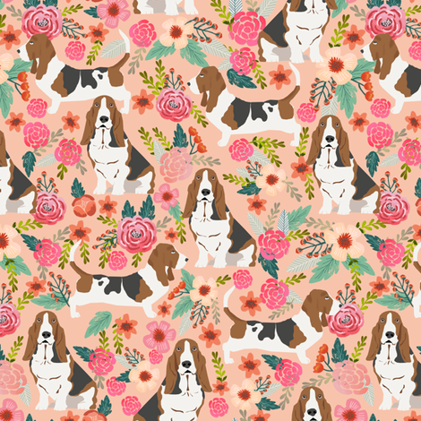 basset hound peach light pastel florals vintage style flowers painted florals pet dog dogs basset hounds fabric fabric by petfriendly on Spoonflower - custom fabric
