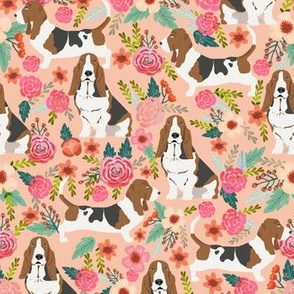 basset hound peach light pastel florals vintage style flowers painted florals pet dog dogs basset hounds fabric