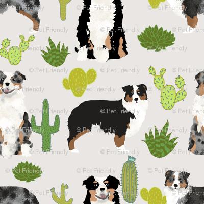 australian shepherds cactus dogs aussie dogs australian shepherds cacti fabric blue merle black and tan tri fabric