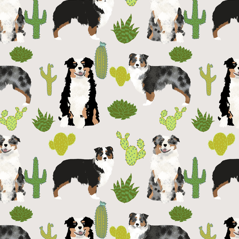 australian shepherds cactus dogs aussie dogs australian shepherds cacti fabric blue merle black and tan tri fabric fabric by petfriendly on Spoonflower - custom fabric