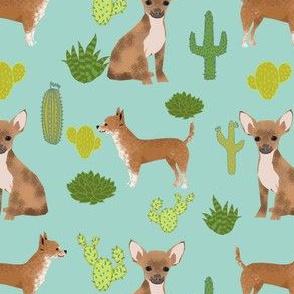 chihuahua mint cactus dog cute dogs pets pet dog fabric