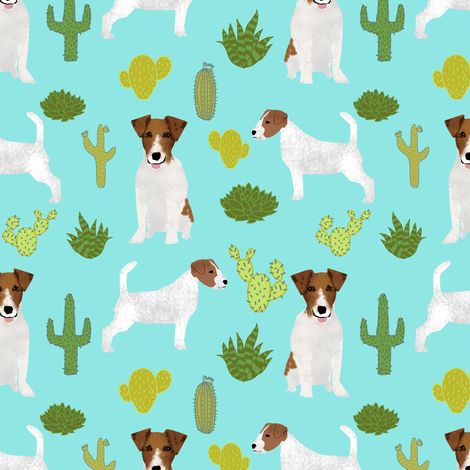 jack russell terrier cactus mint cute jack russell dog fabric fabric by petfriendly on Spoonflower - custom fabric