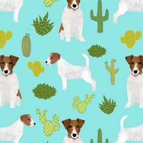 jack russell terrier cactus mint cute jack russell dog fabric