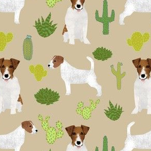 jack russell terrier cactus cacti summer succulent jack russells fabric