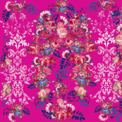 Antique Floral with Flourishes // Fuchsia